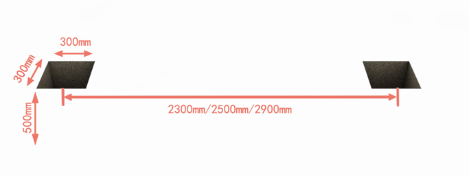 Measure and mark the post location as per the panel width Dig holes for posts. In common, the post is 500mm longer than panel. So 300*300*500mm is ok.