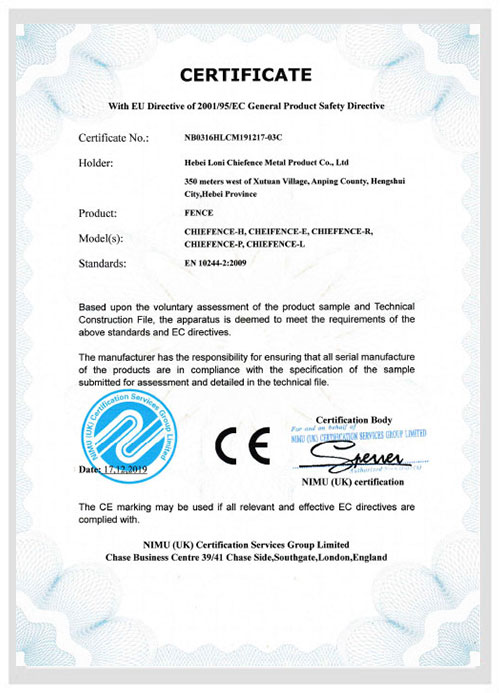 Certificado CE ChieFence